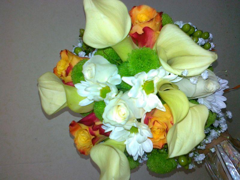 Булченски букет - кала, роза, хризантема