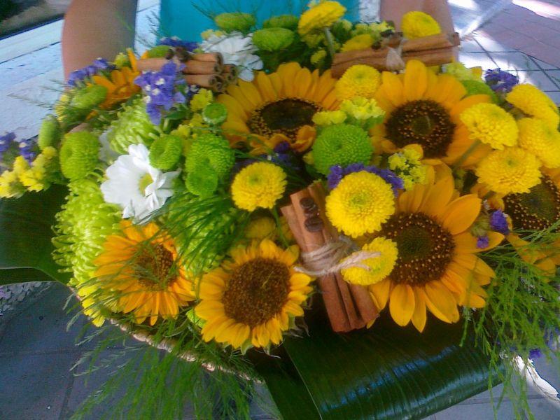 Букет - слънчоглед, хризантема