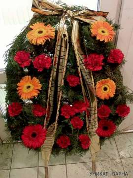 Wreath carnations and gerberas