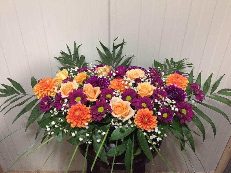 Аранжировка -  хризантема,,рози,далии