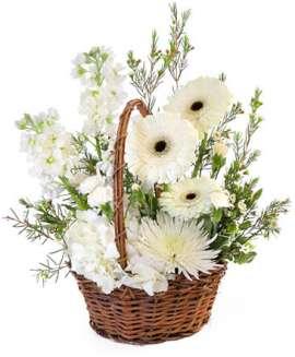 Кошница хризантема,рози алстромерия, делфиниум